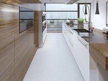 A beleza projetou a cozinha moderna Fotografia de Stock