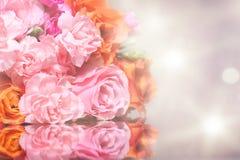 Beleza Rosa do ramalhete com reflexão imagem de stock