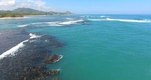 Beleza sem tocar Tiro aéreo de ondas e do recife de corais bonitos de oceano Beleza exótica da natureza 4K video estoque