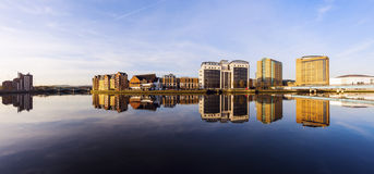 Belfast architecture along River Lagan stock images