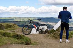 Belfast Cave Hill Country Park - Northern Ireland. Belfast Cave Hill Country Park - a cyclist on MCArt's Fort Royalty Free Stock Photo