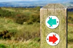 Belfast Cave Hill Country Park - Northern Ireland. Belfast Cave Hill Country Park,a trail signpost Stock Images