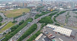 Belfast City, Co. Antrim Northern Ireland. Belfast City, taken by drone Docks crane harbour Co. Antrim Northern Ireland royalty free stock images