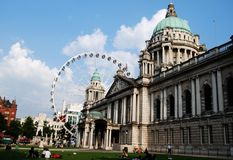 Belfast City Hall and Giant Wheel Royalty Free Stock Images