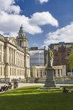 Belfast City Hall Classic Architecture. Beautiful British Stone Architecture in Belfast Northern Ireland on a sunny day royalty free stock image