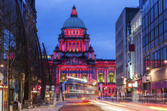 Belfast City Hall at evening stock image