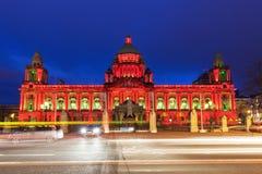 Belfast City Hall. Illuminated Belfast City Hall. Belfast, Northern Ireland, United Kingdom royalty free stock photography