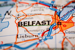 Belfast City on a Road Map Royalty Free Stock Image