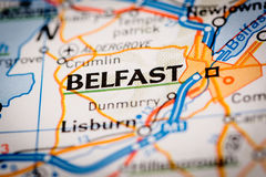Belfast City on a Road Map Stock Photos