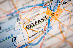 Belfast City on a Road Map Royalty Free Stock Images
