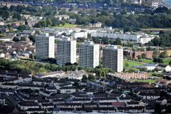 Belfast fyra nordliga flerbostadshus - - Irland Royaltyfri Bild
