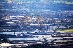 Belfast harbour - Northern Ireland. Belfast- incredible view of a  shipyard, Titanic Center and harbour Royalty Free Stock Image