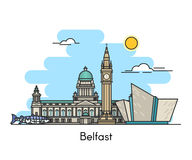 Belfast horisont Irland Förenade kungariket vektor illustrationer