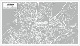 Belfast Ireland City Map in Retro Style. Outline Map. Vector Illustration Stock Image