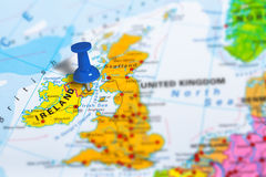 Belfast Ireland map. Belfast in Ireland pinned on colorful political map of Europe. Geopolitical school atlas. Tilt shift effect royalty free stock photos