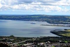 Belfast Lough - Northern Ireland. Belfast - beautiful panoramic view of Belfast Lough Stock Image