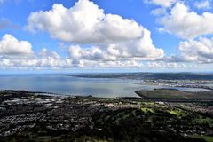 Belfast Lough - Northern Ireland. Belfast Cave Hill Country Park - unforgettable panoramic view from McArt`s Fort Stock Photo