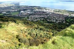 Belfast Lough - Northern Ireland. Belfast Cave Hill Country Park - unforgettable view from McArt's Fort Royalty Free Stock Image