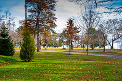 Belfast Maine city park in late autumn Royalty Free Stock Images