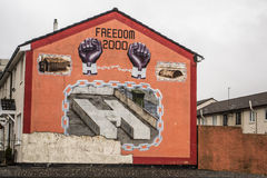 Belfast / murals. Murals in Northern Ireland have become symbols of Northern Ireland, depicting the region's past and present political and religious divisions stock photo