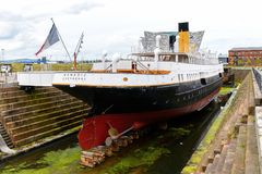 Nomadic (1911), a steamship of the White Star Line. BELFAST, NI - JULY 16, 2016: Back view of the SS Nomadic (1911), a steamship of the White Star Line. It was a royalty free stock image
