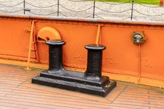 Nomadic (1911), a steamship of the White Star Line. BELFAST, NI - JULY 16, 2016: Deck of the SS Nomadic (1911), a steamship of the White Star Line. It was a royalty free stock photo