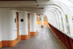 Nomadic (1911), a steamship of the White Star Line. BELFAST, NI - JULY 16, 2016: Deck of the SS Nomadic (1911), a steamship of the White Star Line. It was a stock photography