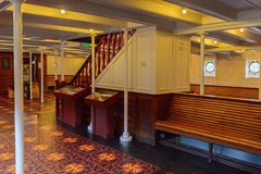 Nomadic (1911), a steamship of the White Star Line. BELFAST, NI - JULY 16, 2016: SS Nomadic (1911), a steamship of the White Star Line. It was a tender to RMS royalty free stock photo