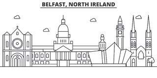 Belfast, North Ireland architecture line skyline illustration. Linear vector cityscape with famous landmarks, city. Sights, design icons. Editable strokes Royalty Free Stock Image