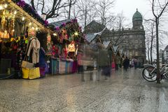 Christmas market at Belfast City Hall and. Belfast, Northern Ireland - 20th November 2017 - Christmas market at the city hall. A traditional festive market held Stock Photography