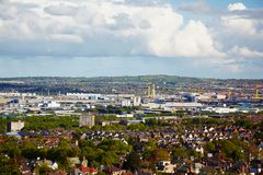 Belfast outskirts. View at outskirts from Belfast Castle, Northern Ireland royalty free stock photography