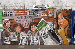 Belfast political murals. One of the political murals on display in Belfast. Justice for Marian Price stock photos