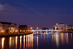 Belfast from the River Lagan. View of Belfast, Northern Ireland from the River Lagan royalty free stock photography