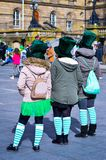 Women Dressed with Green Hats and Socks in St Patrick`s Day at Belfast City. Belfast St Patrick`s Day Celebration 2018. Three Women Dressed with Green Hats and Stock Photo