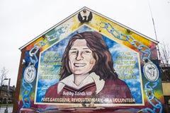 Belfast/väggmålningar Bobby Sands Arkivfoto