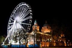 Belfast Wheel at the City Hall. Night photograph  of the wheel erected beside Belfast City Hall Royalty Free Stock Photos