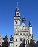 Belfort, Aalst, Belgium. The iconic clock tower (belfort) and Alderman's house in Aalst situated on the main market square. Part of the building dates to from Stock Photos