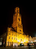 Belfort of Bruges by night Stock Photography