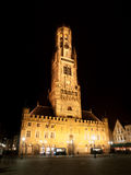 Belfort of Bruges by night Stock Photo