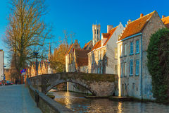 Belfort and the Green canal in Bruges, Belgium Royalty Free Stock Photo