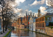 Belfort and the Green canal in Bruges, Belgium Stock Images