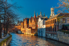Belfort and the Green canal in Bruges, Belgium Royalty Free Stock Photos
