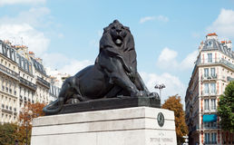 Belfort lion in Paris city Stock Photos
