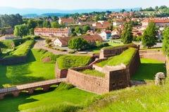Belfort pejzaż miejski z sławną cytadelą wałową, Francja zdjęcia stock