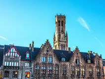 Belfort tower in Bruges, touristic center in Flanders city of Brugge and UNESCO world heritage Royalty Free Stock Images