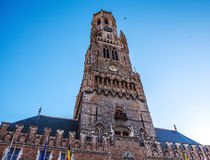 Belfort tower in Bruges, touristic center in Flanders city of Brugge and UNESCO world heritage Royalty Free Stock Photos