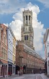 Belfort tower and streets of old Bruges, Belgium stock photos