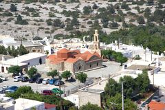 Belfre da torre de Bell das construções históricas de Asklipeiou Rhodos Grécia foto de stock royalty free