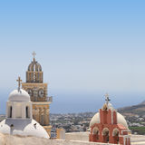Belfries of classical churches of Santorini island Royalty Free Stock Image
