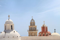 Belfries of classical churches of Santorini island Royalty Free Stock Photos